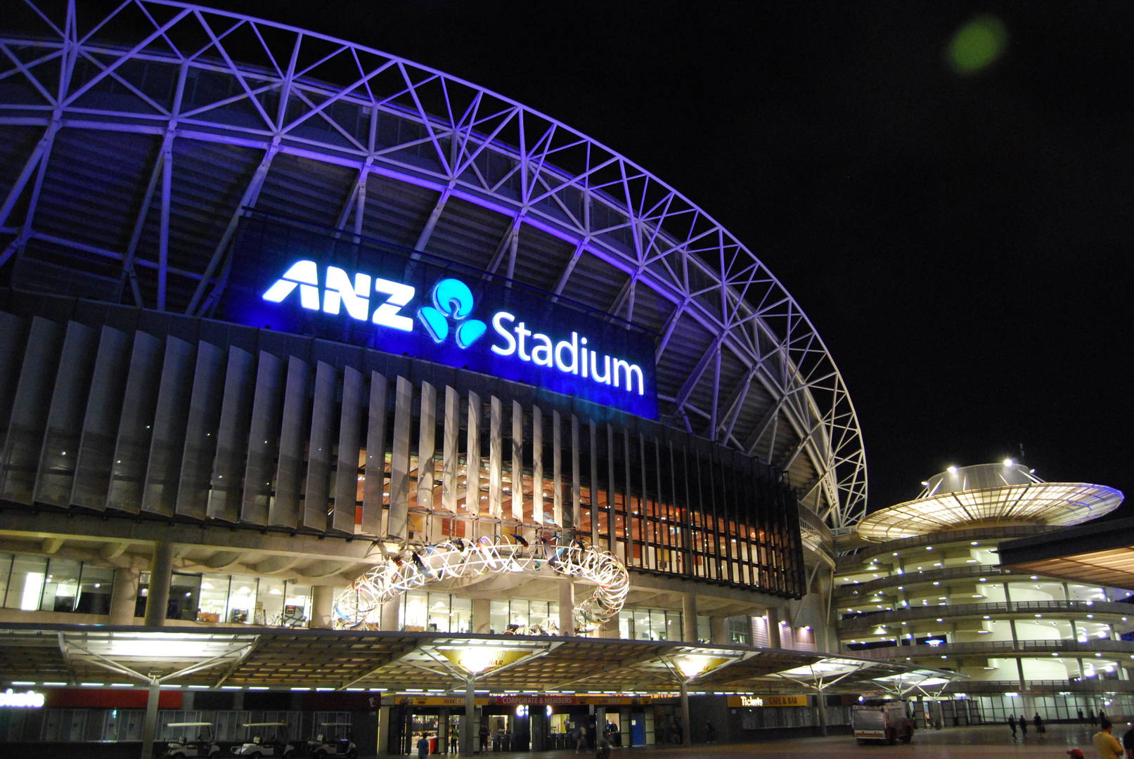 Sydney Olympic Park - external night shot - Photography courtesy of ANZ Stadium